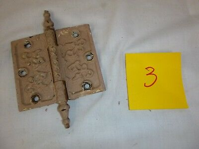 "Pr Vtg Antique Steeple Door Hinge Ornate 4""H x 4.5""W Victorian Eastlake Set #3"