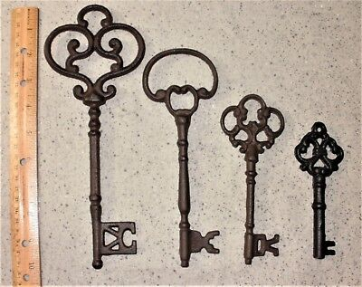 Mixed Lot of 4 Ornate Cast Iron Rust Antique-Style Skeleton Keys  #3