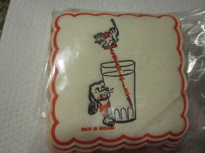 Paper Drink Coasters 12 DOG CAT VTG Made England 1950's 60's Cocktail  Bar Party