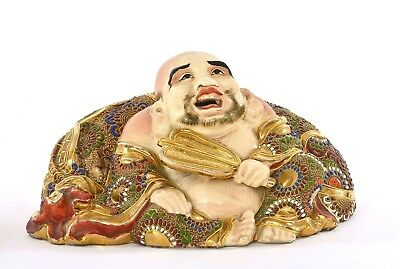 Old Japanese Satsuma Moriage Hotei Buddha Lucky God Figure Okimono Marked