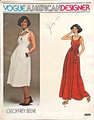 1970's VTG VOGUE Misses' Dress Geoffrey Beene Pattern 1408 Size 12 UNCUT