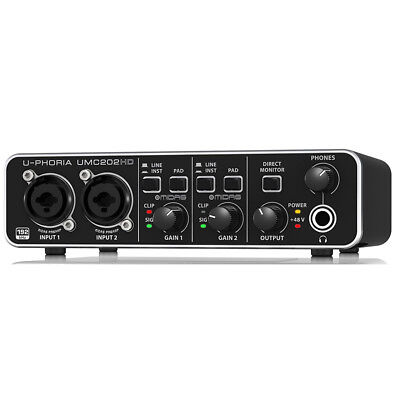 Behringer 2x2, 24-Bit/192 kHz USB Audio Interface w/ MIDAS Mic Preamplifiers