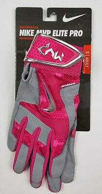 NEW Nike MVP Elite Pro Baseball Batting Gloves GB0399-617 Pink Gray Adult Small
