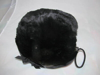 Young Girls Childs Antique Edwardian Era Black Puff FUR MUFF w/Ring