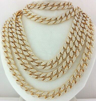 Iced Out Quavo Gold Miami Cuban Link Chain Choker Necklace Bracelet Anklet 15mm