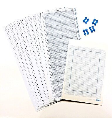 Silver Reed FINE GAUGE (30 ST) BLANK PUNCHCARDS W/ GRAPH PAPER - 10 Cards  F-270