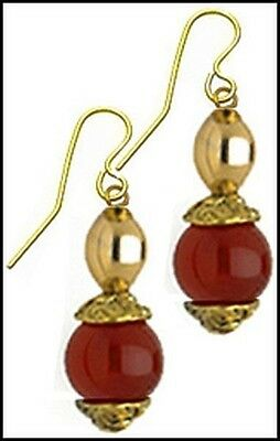 Egyptian Capped Carnelian Earrings ~ Museum Store Collection