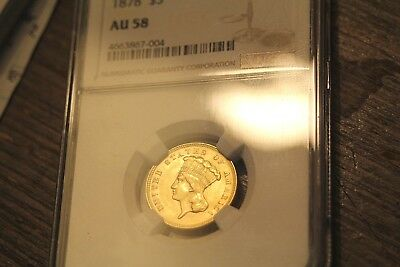 1878 $3 Gold - Nice Almost Uncirculated - NGC 58