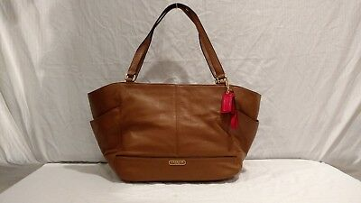 833e5cd5cd01 NWT COACH F23284 Tote Bag Smooth Park Leather Carryall British Tan ...