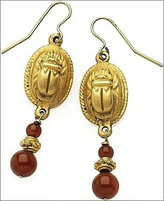 Egyptian Scarab Dangling Earrings with Carnelian Beads - Museum Store Collection