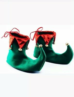 Christmas Adult Elf Green Red Jester Pixie Boots Shoes Xmas Fancy Dress Costume