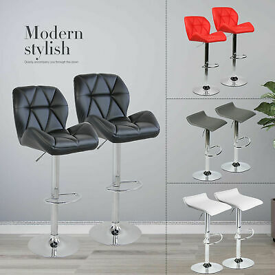 Set Of 2 Bistro Pub Bar Stools Adjustable Swivel Counter Dining Chair Leather US