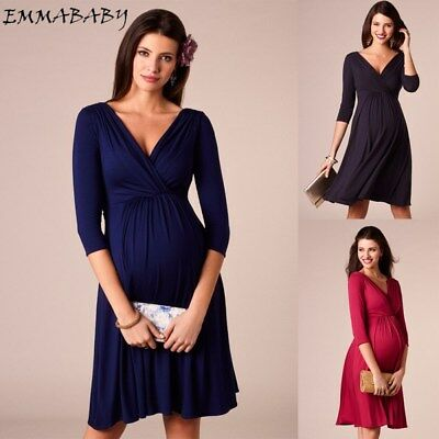 Pregnant Women V Neck Long Maxi Dress Maternity Formal Party Evening Photo Dress