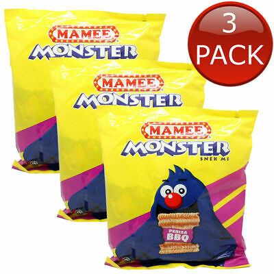 3 x MAMEE MONSTER NOODLES PERISA BBQ FLAVOUR SNACKS NOODLE READY TO EAT 24 x 25g