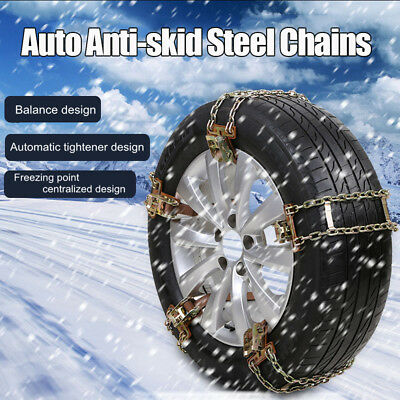 5PCS Universal Steel Car Tire Anti-skid Chains Emergency Snow Mud Road 235-285mm