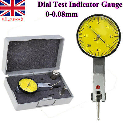 1pc Precision 0.01mm Dial Test Indicator DTI Clock Gauge 0-0.8mm Level Scale UK