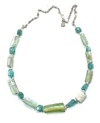 Roman Glass Sterling Silver 925 Authentic Fragments 200 B.C Bluish Necklace
