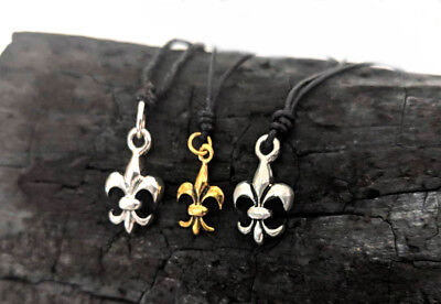 French Fleur De Lis Sterling Silver, Brass or Pewter Necklace Pendant Jewelry