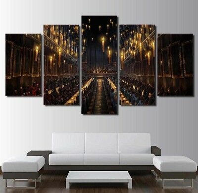 Framed Home Decor Harry Potter Cathedral Canvas Prints Painting Wall Art 5PCS