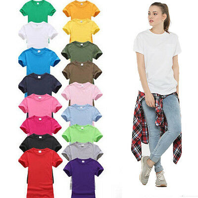 Womens Plain Short Sleeve Shirt Fashion Ladies Summer Casual Top Shirt Tee Vest