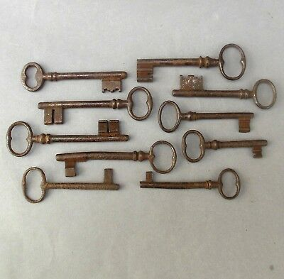 "10 Antique Steel Door Keys ~ Georgian / Victorian ~ 3 1/4"" to 4""  / collection"
