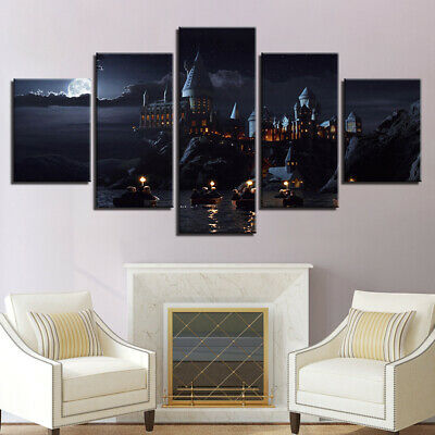 Home Decor Harry Potter Castle Lake Canvas Prints Painting Wall Art Poster 5PCS