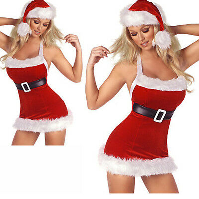 Sexy Christmas Santa Costume Xmas Party Fancy Dress Women Dress   Hood  Outfit addb8592a04a