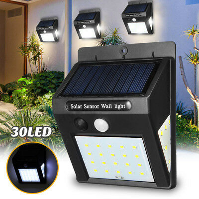 1/4x30LED Solar Power 3Side PIR Motion Sensor Light Outdoor Garden Security Lamp