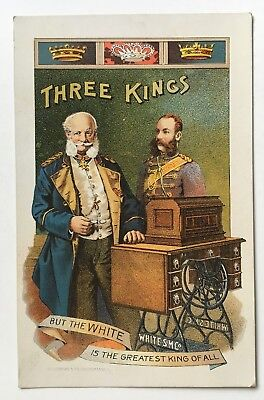 Vintage Victorian Trade Card White Sewing Machine Co Three Kings illustration
