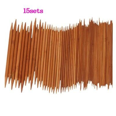 2X(15 x 20cm Double-Pointed Bamboo Knitting Needles Z9Z6)
