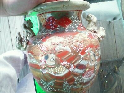 Vintage Oriental Porcelain Foo Dogs China Vase w/ 3 Feet Great Colors Signed 9""