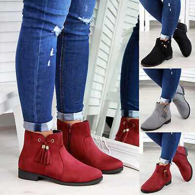 New Womens Ladies Ankle Boots Tassel Zip Low Heel Casual Flat Shoes Sizes 3-8