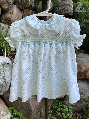 Vintage Baby Girl Dress Blue Floral Ruffles Lace S/S Polka Swiss Dot Smocked 12M