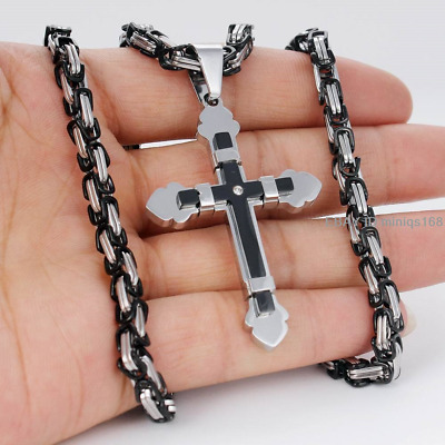5mm Men Chain Black Silver Byzantine Stainless Steel Cross Pendant Necklace 24''