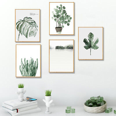 Green Plant Leaves Canvas Painting Wall Background Living Room Home Decor Grace