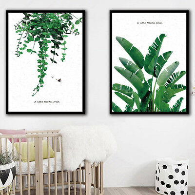 Nordic Green Plant Leaves Canvas Painting Wall Living Room Poster Home Decor Gra