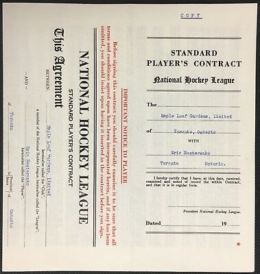 1955 Toronto Maple Leafs NHL Hockey Contract Eric Nesterenko Unsigned Vintage