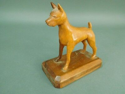 Vintage Hand Carved Walnut Boxer Dog Breed Signed C.P. Squires of N.C.