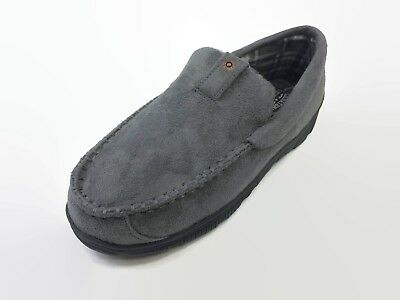 Signature by Levi Straus Men's Gray Venetian Moccasin Slippers Memory Foam