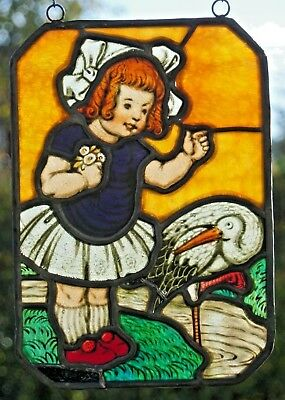 """Leaded Glass Rare Old Window Image Stained Glass/Etching, """" Girl + Stork """""""