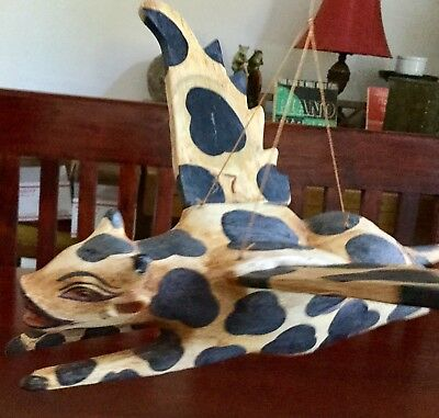 """Flying Cow Mobile Cradle Guardian Hand Carved wood Balinese Art 14"""" L 14"""" W"""