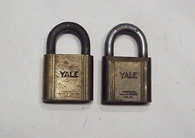 Lot of 2 Vtg Yale Brass Padlocks, Old Yale & Towne Locks, collectible - No Keys