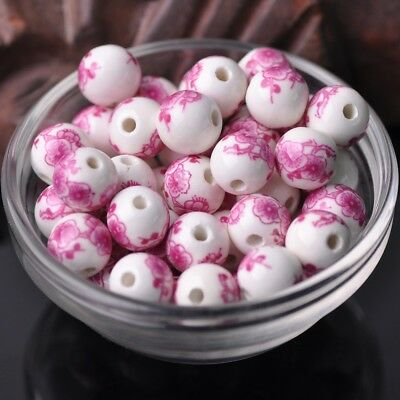 NEW 20pcs 12mm Round Ceramic Smooth Flower Pattern Loose Spacer Beads  #9