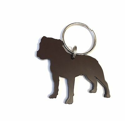 Staffordfordshire Bull Terrier Staffie Brown Dog Keyring Lanyard Keychain Gift