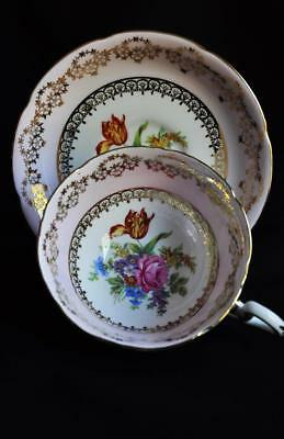 Elegant Royal Grafton Delicate Pink Wide-Mouth Bone China Teacup/Saucer England