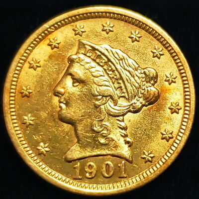 1901 $2.5 Liberty Coronet Head Quarter Eagle Gold Collector Coin >LHQE0123