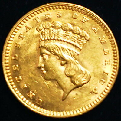 1862 $1 US American Gold Large Indian Head One Dollar Type 3 15mm Coin >IH3G6226