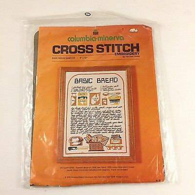 Basic Bread Cross Stitch Embroidery Sampler Kit Columbia Minerva Vintage Sealed