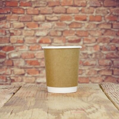 8 oz Paper Coffee Cups - Kraft Double Wall Hot Drink Disposable Cups