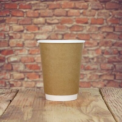 10 oz Paper Coffee Cups - Kraft Double Wall Hot Drink Disposable Cups